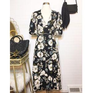 NEW Gianni Bini Navy Floral Wrap Midi Dress
